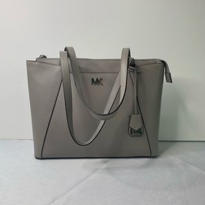 Michael Kors Maddie Crossgrain Leather Grey Tote